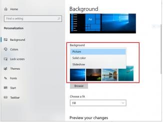 Menu setting Background untuk ganti wallpaper laptop windows 10